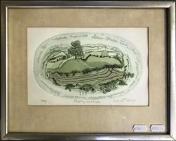 Sale 9106 - Lot 2028 - Glyn Thomas Floating Landscape, colour aquatint, ed. 36/65, frame: 35 x 32 cm, signed