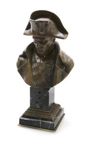 Sale 8362A - Lot 20 - An antique French Napoleon Bonaparte bust, bronze on green marble base, Ht: 23 cm