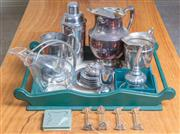 Sale 8489A - Lot 68 - A quantity of drinking related wares, mainly EP, including cocktail shaker, water jug, coasters, wine funnel, glass decanter (chippe...