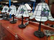 Sale 8480 - Lot 1043 - Set of Four Leadlight Shade Table Lamps
