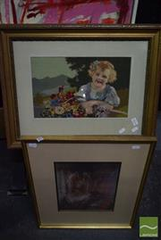 Sale 8497 - Lot 2034 - Group of Various Artworks Including Oil Paintings and Framed Needlework