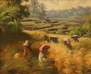 Sale 8640 - Lot 2011 - Artist Unknown (Balinese School) - Field Workers, Bali 27 x 33cm