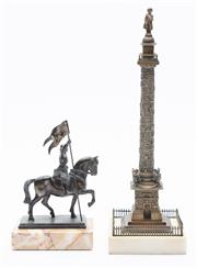 Sale 8873A - Lot 30 - A Grand Tour style brass and marble miniature of Napoleons victory column together with an equestrian figure of Joan of Arc