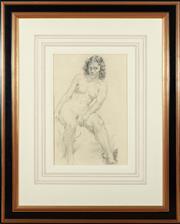 Sale 8908H - Lot 67 - NORMAN LINDSAY (1879 - 1969) - Reclining Nude (Rita) image size 51cm x 34cm