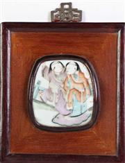 Sale 8926A - Lot 697 - Chinese famile rose ceramic wall plaque, framed in wood