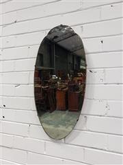 Sale 9059 - Lot 1018 - Art Deco Style Oval Mirror (H:66 x W:32.5cm)