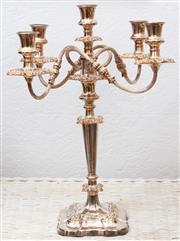 Sale 9066H - Lot 4 - A silver plated four branch candelabrum of elegant form. H 48cm