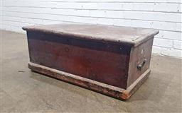 Sale 9142 - Lot 1030 - Late 19th Century Painted Pine Trunk, with hinged lid and Georgian style brass carry handles (h:37 w:87.5 d:47cm)