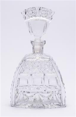 Sale 9170H - Lot 67 - A Bohemian cut crystal decanter with fan form stopper, Height 27cm, small chip to collar.