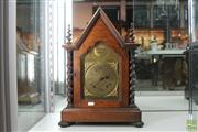 Sale 8288 - Lot 61 - German Oak Mantle Clock with Keys & Pendulum