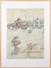 Sale 8316 - Lot 517 - John Wolseley (1938 - ) - Steel Making Drawing IV, 1993 77 x 57cm