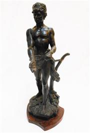 Sale 8362A - Lot 21 - An antique French bronzed cast metal figure of a man on marble base, Ht: 47 cm