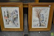 Sale 8495 - Lot 2025 - (2 works) Parisian Street Scenes, decorative prints, frame size: 56 x 47cm, each, facsimile signature lower right, each