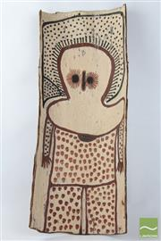 Sale 8496 - Lot 3 - Aboriginal Bark Painting Wandjina Man Length 75cm