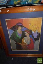 Sale 8497 - Lot 2092 - A Itzchak Tarkay decorative print, frame size: 89.5 x 77cm, facsimile signature