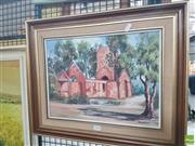 Sale 8582 - Lot 2135 - M. Heighway, Church, Boydtown, Twofold Bay, Oil, 19x39cm