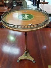 Sale 8598 - Lot 1006 - Small Georgian Style Painted Occasional table, the circular top with green figural cameo & brass gallery. the turned shaft & triform...