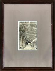 Sale 8964 - Lot 2069 - Lionel Long Newcastle Railway Station ink and wash, 70 x 54cm (frame) signed