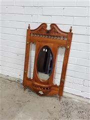 Sale 9059 - Lot 1051 - Wall Mount Timber Mirror (h:95 x w:55cm)