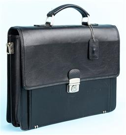 Sale 9092F - Lot 10 - A TOSCA MENS BREIFCASE, in black with silver front clasp, three internal sections and front pocket, Height 31cm x Width 40cm