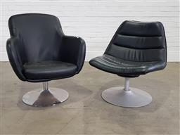 Sale 9191 - Lot 1028 - Leather swivel tub chairs x 2 (h:86 x w:73cm)