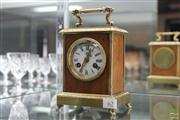 Sale 8288 - Lot 62 - French Timber & Brass Carriage Clock with Key & Pendulum