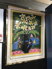 Sale 8720 - Lot 2089 - Ken Done Frangipani decorative print ed.76/500, 68 x 53cm, signed lower right