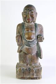 Sale 8902 - Lot 84 - Carved Polychrome Figure of a Man on Lotus Base, H63cm