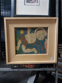 Sale 9127 - Lot 2034 - Vietnamese School Boy & the Golden Sun, tempura on board, frame: 40 x 45 cm, signed upper left -