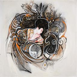 Sale 9252A - Lot 5087 - LUCETTE DALOZZO (1945 - ) Geisha II acrylic and mixed media on canvas 100 x 100 cm signed lower right, inscribed and titled verso