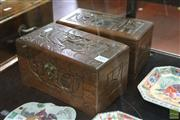 Sale 8285 - Lot 64 - Camphor Wood Pair of Fitted and Carved Jewellery Boxes