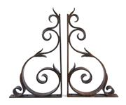 Sale 8422A - Lot 26 - A pair of French heavy wrought iron shelf brackets, 78 x 45cm