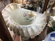 Sale 8730B - Lot 60 - Frilled Milk Glass Bowl on Four Feet Depicting Gilt Finch W: 30cm