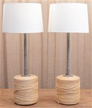 Sale 8984H - Lot 99 - A pair of Wombat Hollow lamps, the bases constructed from repurposed twine bales with corrugated iron risers and cream shades. Height..