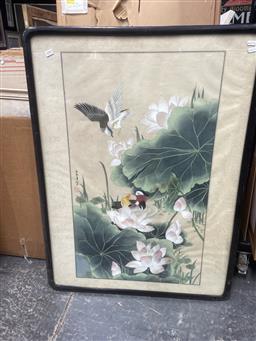 Sale 9091 - Lot 2090 - Chinese School Water Birds & Lotus Flowers, gouache on silk, frame: 102 x 76 cm,