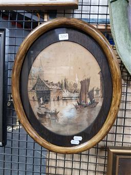 Sale 9155 - Lot 2050 - A late C19th Scene of Chinese Figures Commuting in the Harbour and Townscape, watercolour, frame: 38 x 31 cm, -