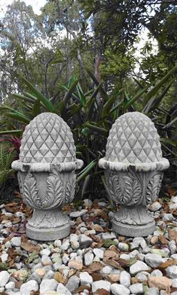 Sale 9175G - Lot 8 - Pair of Hand Carved Granite Artichoke/Acorn Finials.General wear Size: 50cm H