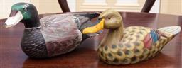 Sale 9190H - Lot 85 - Two hand painted multi colour carved wood vintage decoy ducks.