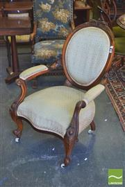 Sale 8390 - Lot 1091 - Victorian Carved Walnut Gentlemans Armchair with green upholstery