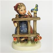 Sale 8456B - Lot 94 - Hummel Figure of a Girl on Fence with Bird