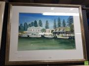 Sale 8573 - Lot 2059 - Ian Senior, Moyne River from Yacht Club, Port Fairy, 40x60cm,