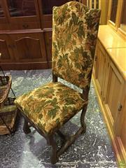 Sale 8601 - Lot 1425 - Three Oak & Cut-Moquette Velvet Highback Chairs