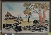 Sale 8600 - Lot 2089 - Artist Unknown - A Country Home 1970,hand coloured lithograph, 36 x 54cm, signed and dated lower right