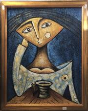 Sale 8784 - Lot 2016 - Artist Unknown - Tea and Contemplation acrylic on board, 67 x 57cm, signed lower right