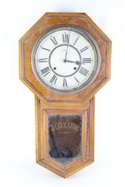Sale 8827D - Lot 22 - An Oak Cased Regulator Wall Clock ( A.F, with Key and Pendulmn)