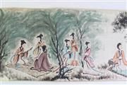 Sale 8902C - Lot 619 - A Chinese Scroll Featuring Ladies in Garden