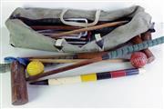 Sale 8968 - Lot 6 - Vintage Croquet Set in Bag