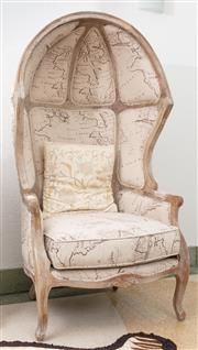 Sale 9066H - Lot 2 - A rustic style butlers chair upholstered with a coarse linen map print with a timber frame. H 157cm W 85cm D 70cm