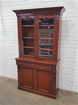 Sale 9129 - Lot 1008 - Timber bookcase with two glass panel doors & single drawer- glass damaged (h:194 w:105 d:40cm)
