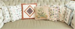 Sale 9164H - Lot 50 - A quantity of seven floral cushions and a geometric example